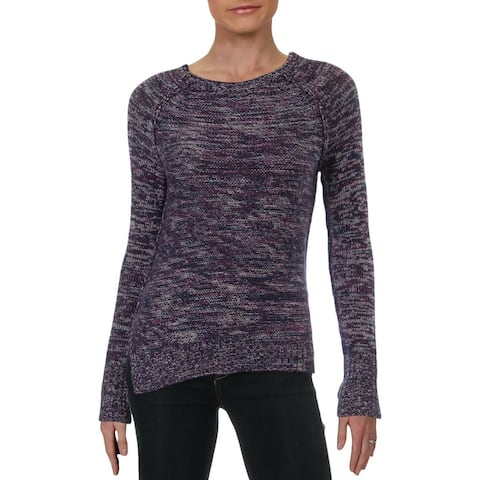 Aqua Womens Crewneck Sweater Marled Cashmere - Punch Cocktail - XS