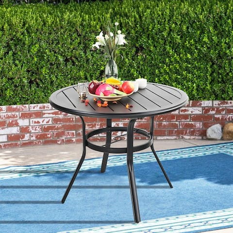 MFSTUDIO Outdoor Patio Dining Table All-Weather Round Metal Bistro Table with Umbrella Hole for Backyard Lawn Garden
