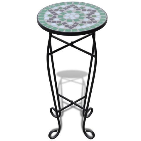 vidaXL Mosaic Side Table Plant Table Green White