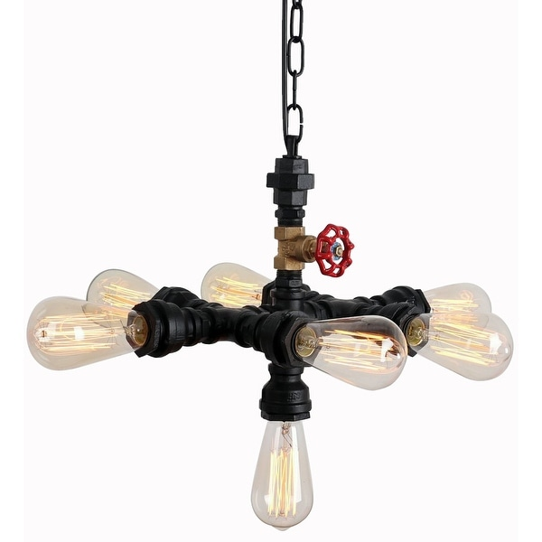 Rustic Black Water Pipe Chandelier With 7 Lights Painted Finish