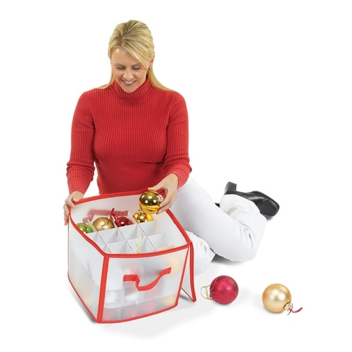 "12"" Red and Clear Zip Up Christmas Ornament Storage Bag - Holds 64 Ornaments"