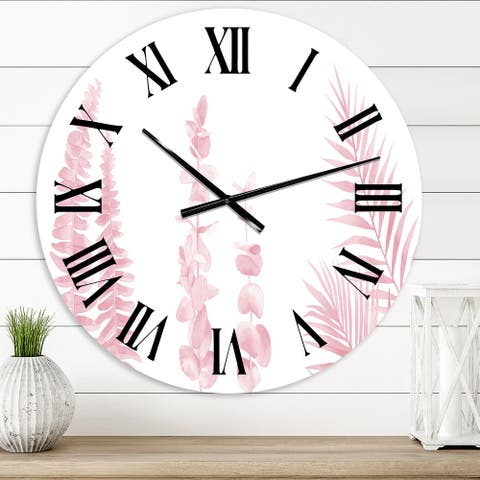 Designart 'Blush Pinkeucalyptus and Palm Branches' Shabby Chic wall clock