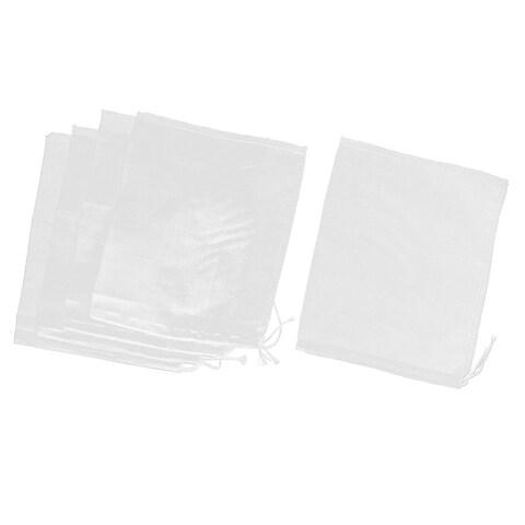 6 Pcs Drawstring Seal Soup Food Filter Mesh Bag 9 Inch x 7 Inch White