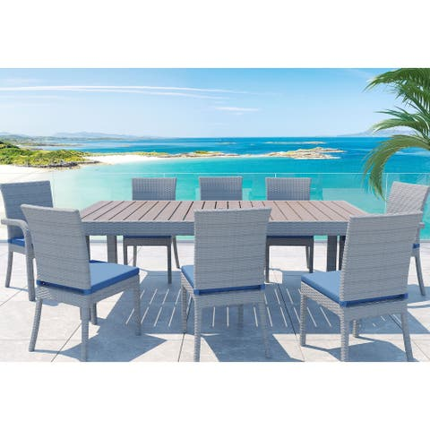 Balcones 9-Piece Outdoor Patio Dining Set by Gardennaire - Dining Table & 8x Dining Chairs with cushions