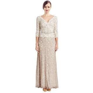 Tadashi Shoji Three Quarter Sleeve Lace Belted Evening Gown Dress - 8