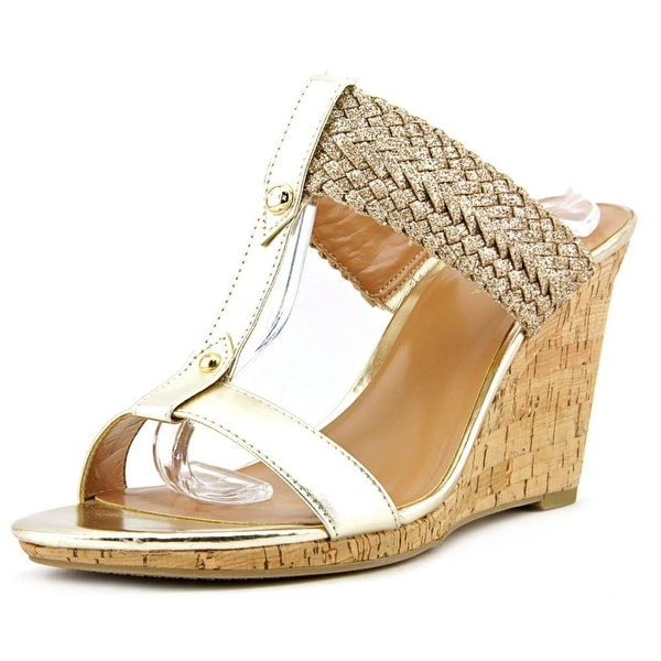 Tommy Hilfiger Eleona Women Open Toe Synthetic Gold Wedge Sandal