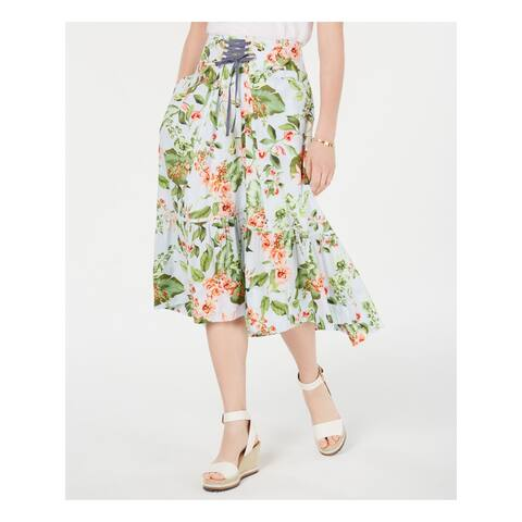 TOMMY HILFIGER Womens Blue Floral Midi Circle Skirt Size 18