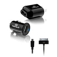 Universal Wall and Car Charger for Samsung S2,S3,S4 & iPhone 4, includes Micro USB and Apple 30 Pin Cable