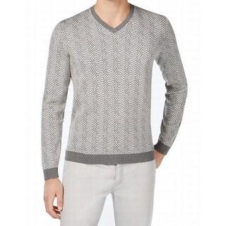 Calvin Klein NEW Gray Mens Size XL Slim Fit V-Neck Silk Sweater