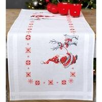 "16""X40"" - Christmas Elves Table Runner Stamped Cross Stitch Kit"