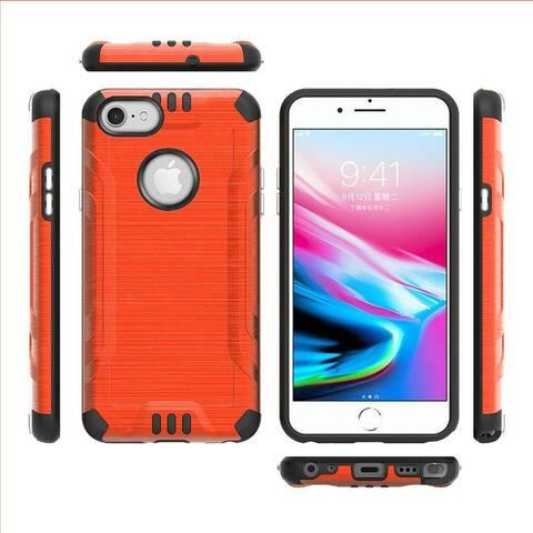 For Apple iPhone 7/8/SE (2020) Orange Combat Metallic Hard TPU Hybrid Case Cover