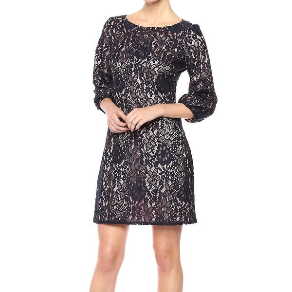 Jessica Howard Deep Blue Womens Size 14 Floral-Lace Sheath Dress