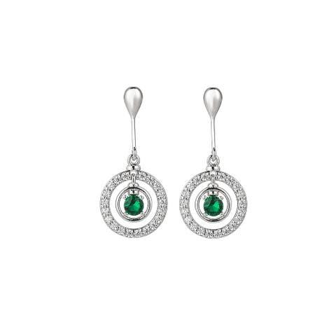 Silver-Tone Emerald Accent Circle Drop Earrings