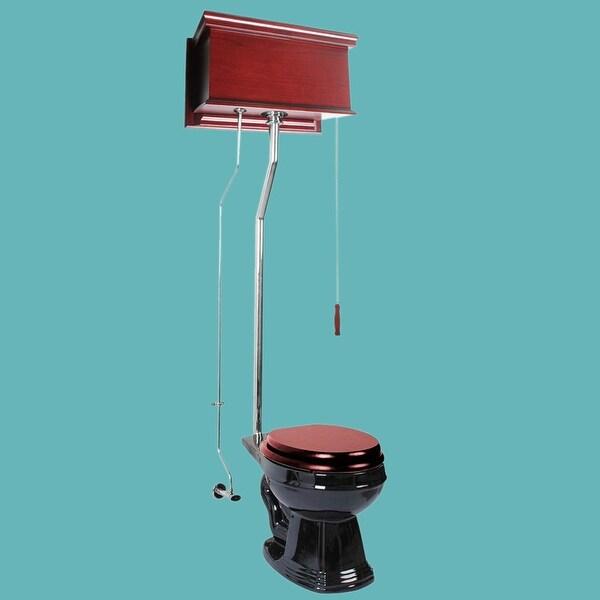 Cherry High Tank Pull Chain Toilet Black Round Chrome | Renovator's Supply