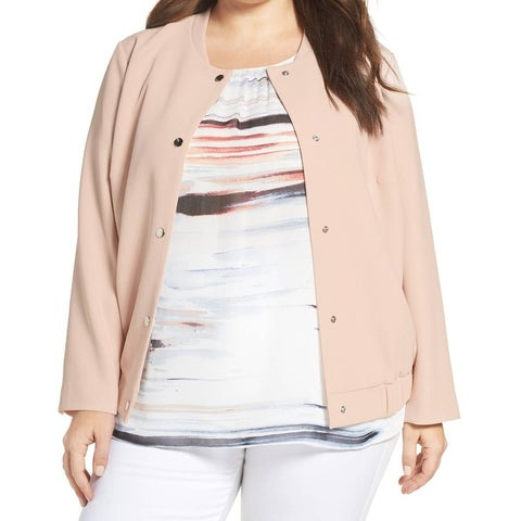 Vince Camuto Pink Women's Size 3X Plus Snap Button Bomber Jacket