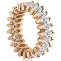 5.75 cttw. 14K Rose Gold Marquise Diamond Eternity Ring - Thumbnail 2