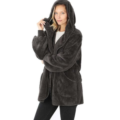 JED Women's Relax Fit Soft Fleece Hoodie Coatigan