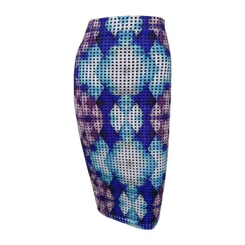 Bar III Women's Printed Laser-Cut Pencil Skirt - Lazulite Combo - XXS