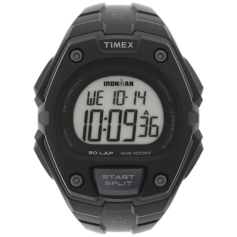 Timex Men's IRONMAN Classic 30 Oversized 45mm Resin Strap Watch - Black Case & Top Ring with Black Resin Strap - One Size