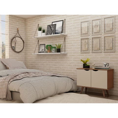 Manhattan Comfort Hampton 2 Shelf Accent Cabinet with Solid Wood
