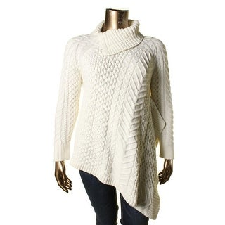 Vince Camuto Womens Plus Cable Knit Asymmetric Sweater