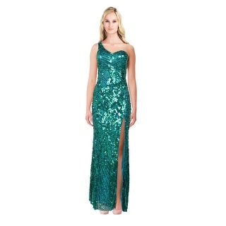 Mac Duggal Fully Sequined Front Slit Cutout Back Prom Evening Gown Dress
