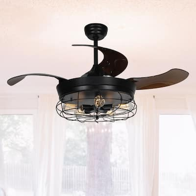 46-inch Industrial 4-Blades Ceiling Fan with Light Kit