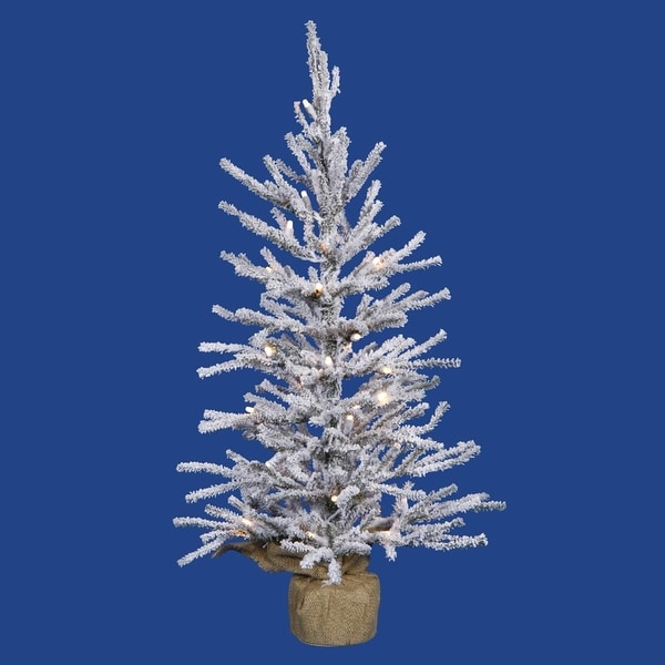 "22.5"" x 14"" Pre-Lit Flocked Angel Pine Artificial Christmas Tree in Burlap Base - Clear Dura Lights"