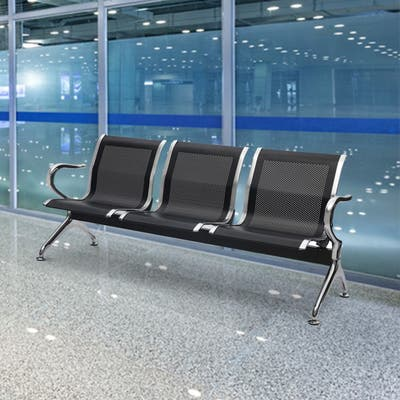 Kinbor 3-Seat Airport Reception Waiting Chair Bank Salon Barbershop Bench Guest Chair