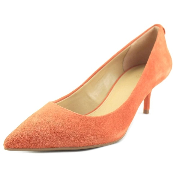 201d56a37fb Michael Michael Kors Flex Kitten Pump Women Pointed Toe Suede Orange Heels