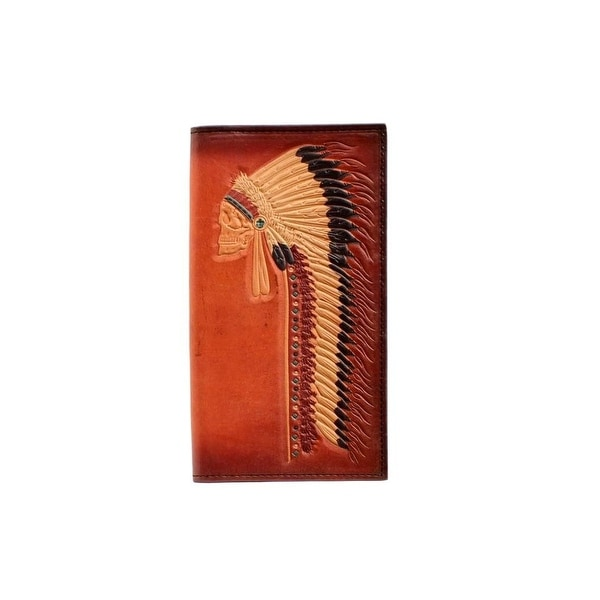 Ariat Western Wallet Mens Rodeo Leather Credit Card Slots Tan