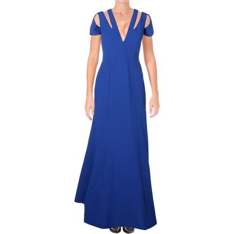 BCBG Max Azria Womens Estrella Evening Dress Crepe Cut-Out