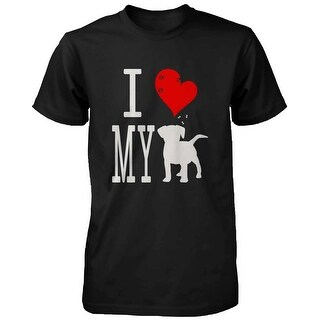 Men's Cute Graphic Statement T-Shirt - I Love My Dog Black Graphic Tee