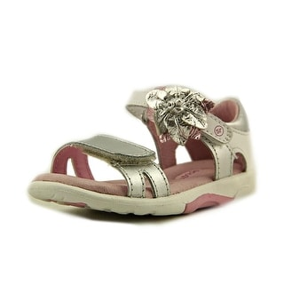 Stride Rite SRT Naiya Toddler Open Toe Leather Silver Sandals
