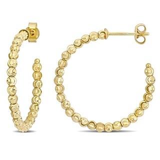 Link to Miadora 18k Yellow Gold Diamond-cut Beaded Hoop Earrings Similar Items in Earrings