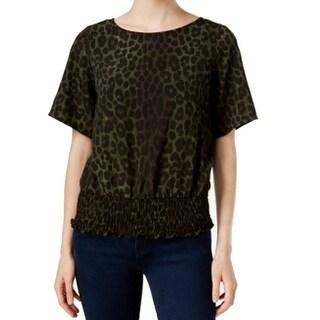 Michael Kors NEW Green Black Women's Size XL Spotted Cheetah Blouse
