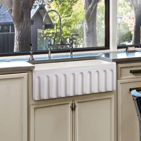 White Fireclay Farmhouse Single Bowl 36-inch Kitchen Sink with Apron