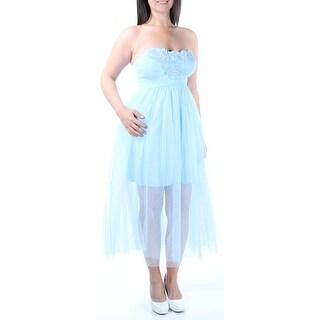 IN *AWE $79 New 1816 Light Blue Strapless Embellished Sheer Dress L B+B