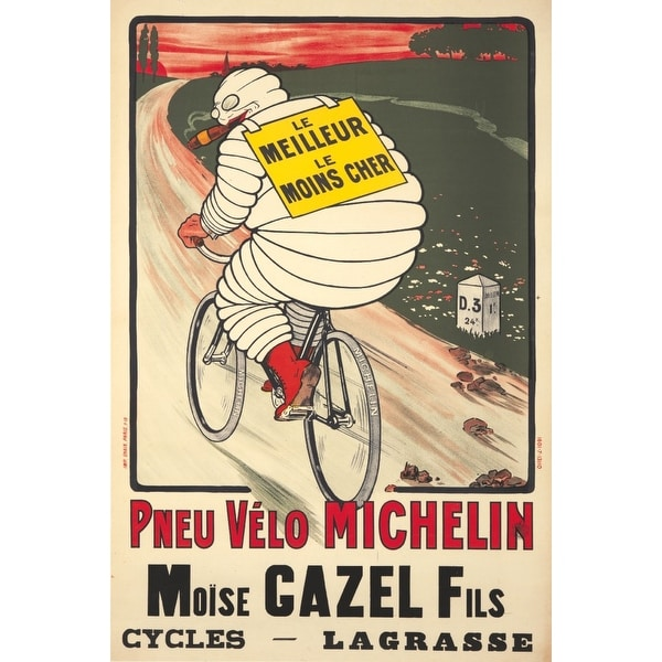 Pneu Velo michelin Vintage Poster (artist: O'Galop) France c  1913 (Art  Print - Multiple Sizes Available) - 9 x 12 Art Print