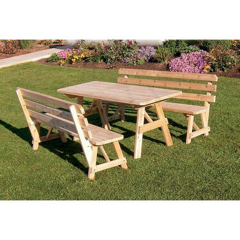 Cedar 5' Picnic Table with 2 Backed Benches