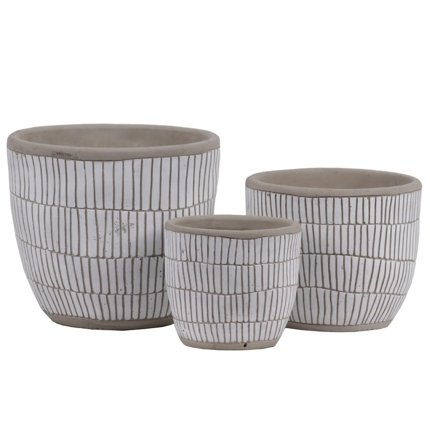Irregular Stoneware Pot With Embossed Lattice Rectangle Design, Set of 3, White