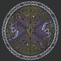 Handmade 100% Cotton Celtic Wheel of Life Tapestry Bedspread Twin 70x104 and Full 88x104 in Black Tan & Black Purple colors - Thumbnail 2