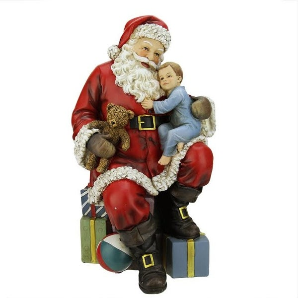 "15.5"" Santa Claus with a Child and Presents Christmas Table Top Decoration - multi"