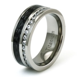 Titanium CZ Eternity and Black Carbon Fiber Inlay Ring