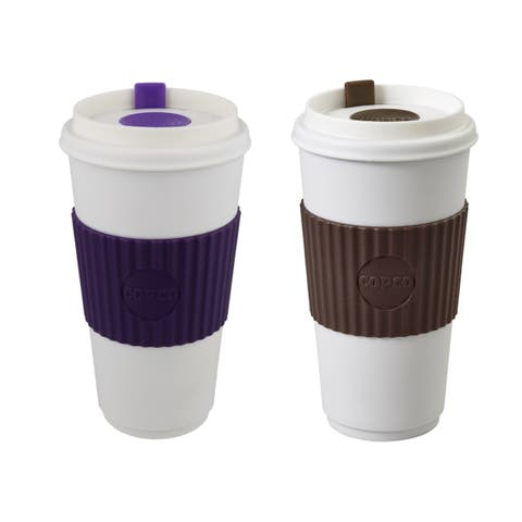 Copco To Go Insulated Travel Mug With Lid BPA Free 16 Oz Pack Of 2 - Brown Purple - Brown & Purple