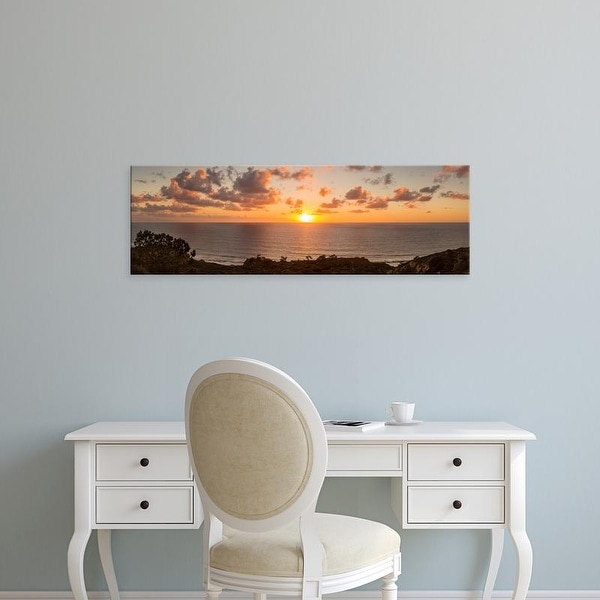 Easy Art Prints Panoramic Image 'Sunset,Pacific Ocean, Torrey Pines Natural Reserve, San Diego, California' Canvas Art