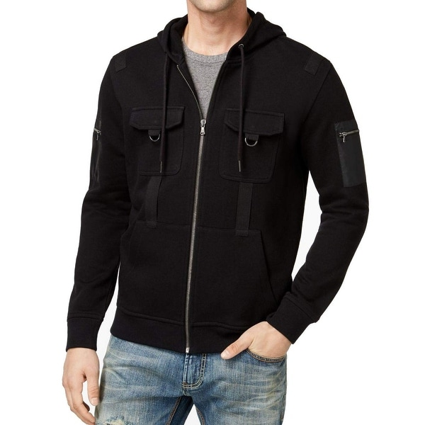 INC Black Mens Large L Graphic-Print Terry Fleece Hooded Jacket