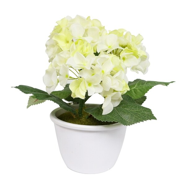 """10"""" Potted Artificial White and Yellow Hydrangea Flower - N/A"""
