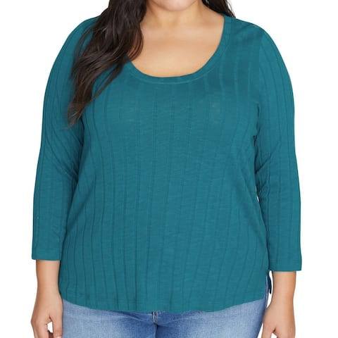 Sanctuary Women's Top Teal Green Size 1X Plus Knit Ribbed Scoop Neck