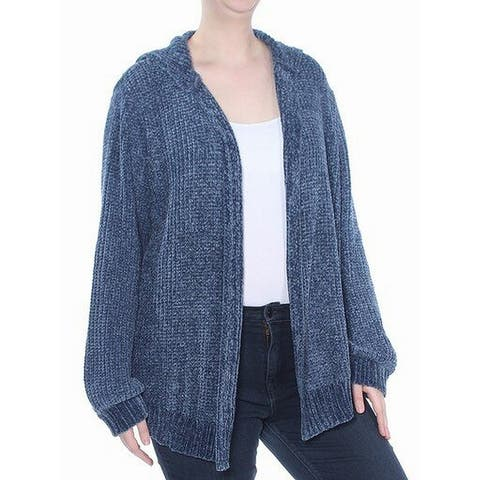 Planet Gold Womens Sweater Dark Denim Blue Size 3X Plus Cardigan Hooded